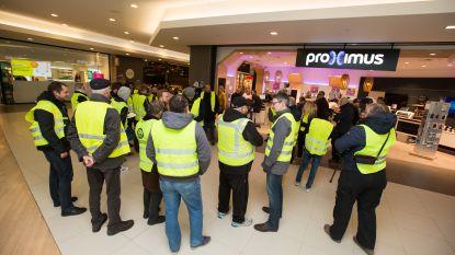 'Gele hesjes' protesteren in Genk tegen afvloeiingen bij Proximus