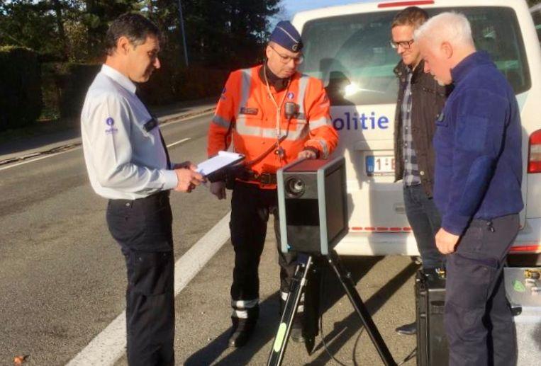 De nieuwe mobiele flitscamera  van de politiezone Leuven.