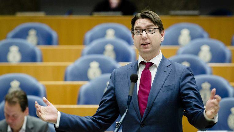 Kamerlid Steven van Weyenberg (D66) tijdens het debat over de begroting van Sociale Zaken in de Tweede Kamer. Beeld anp
