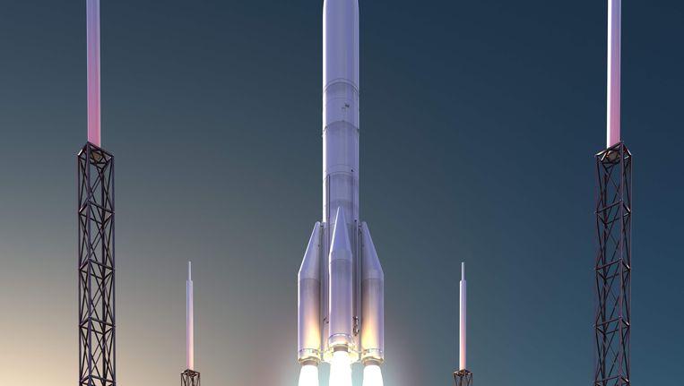 Een model van hoe de Ariane-6 er in de toekomst kan uitzien.