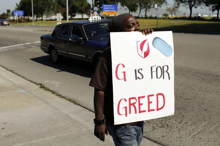 Demonstraties tegen Gilead, de producent van het hepatitismedicijn Sovaldi, in San Francisco. Sovaldi is uitgegroeid tot het symbool van de graaicultuur onder farmaceuten. Beeld Alison Yin / AP