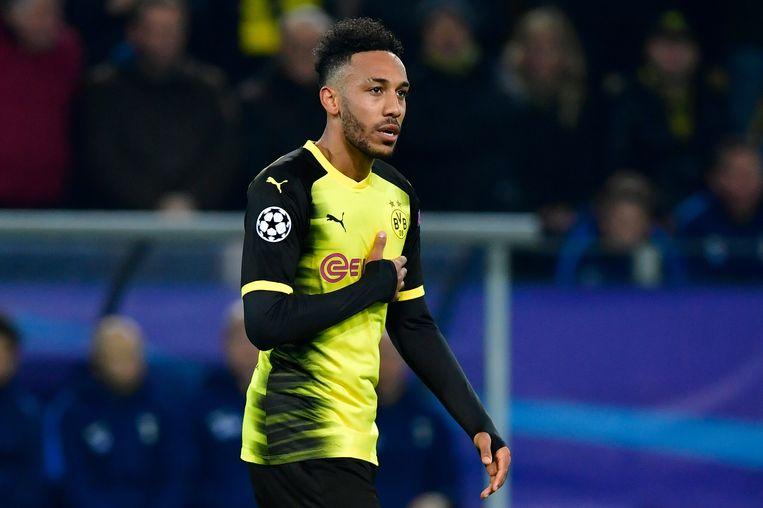 Aubameyang scoorde twee keer voor Dortmund.