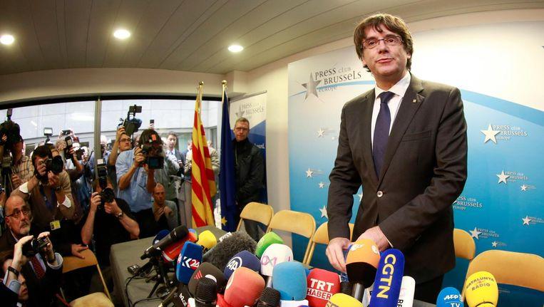 Carles Puidemont tijdens de persconferentie in Brussel. Beeld epa