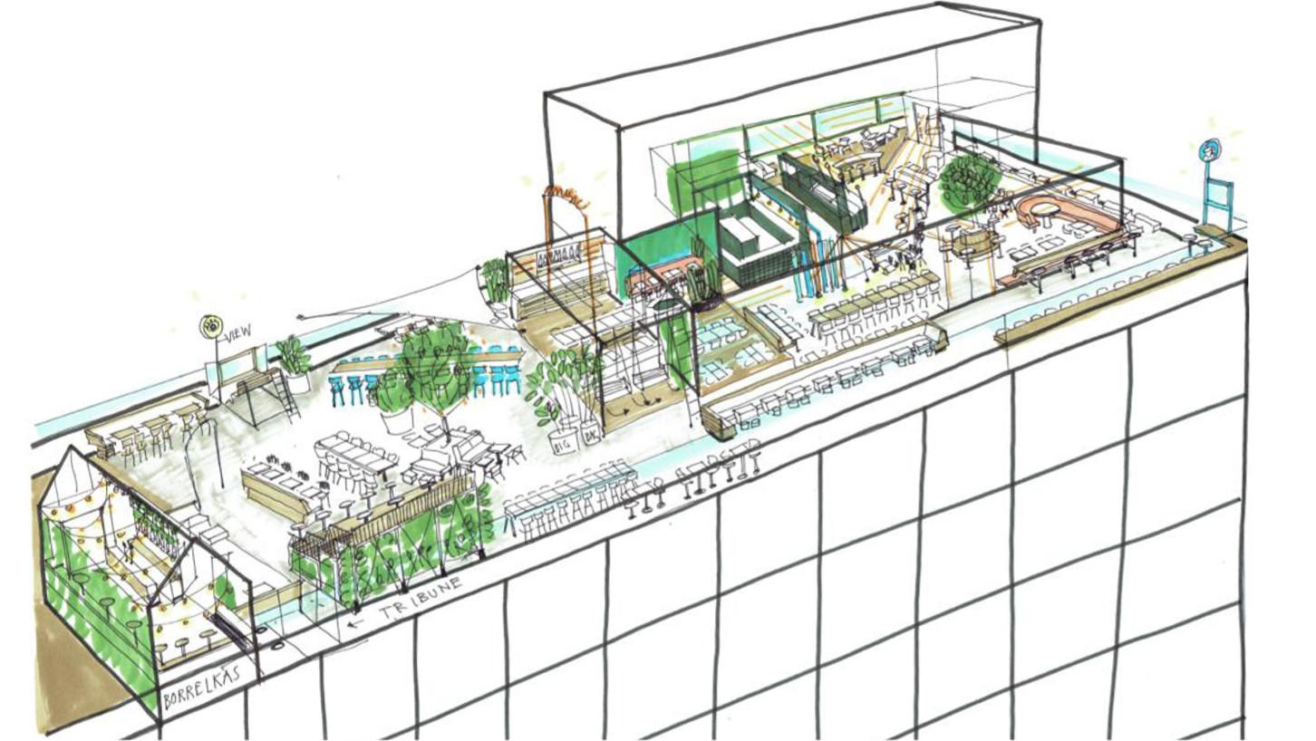 De rooftop-bar van labyrinth Doloris.