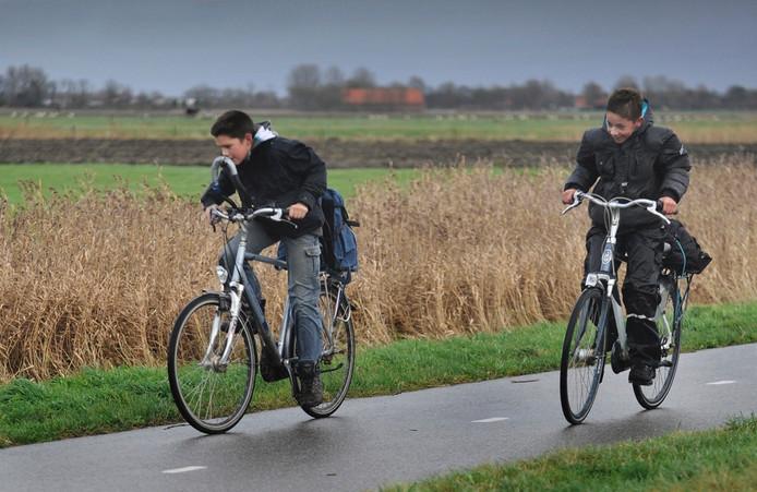 Fietsen in de tegenwind bij Hoogelande.