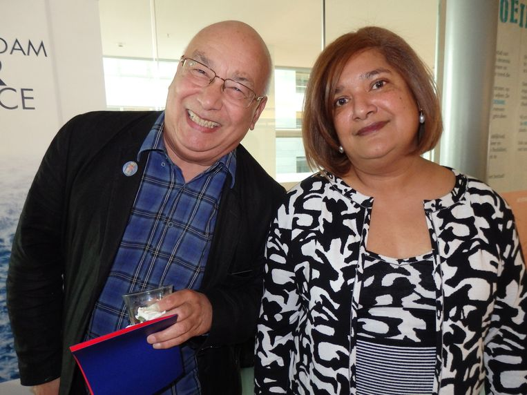 Sandra Chedi, eigenaar Amstel Botel en galeriehouder Rob Malasch. Beeld Schuim