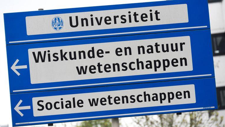 Bewegwijzering van de Universiteit Leiden. Beeld anp