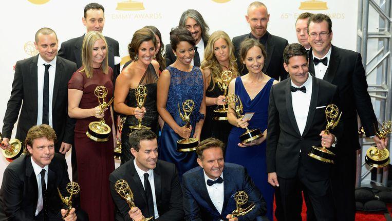 Het team van The Voice, met linksonder het brein achter de talentenshow onder John de Mol Beeld getty