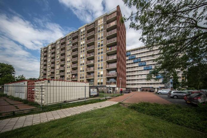 De renovatie van twee van de vier flats aan de Dollard ligt stil doordat vleermuizen in de kopgevels zijn aangetroffen. Foto Frans Paalman