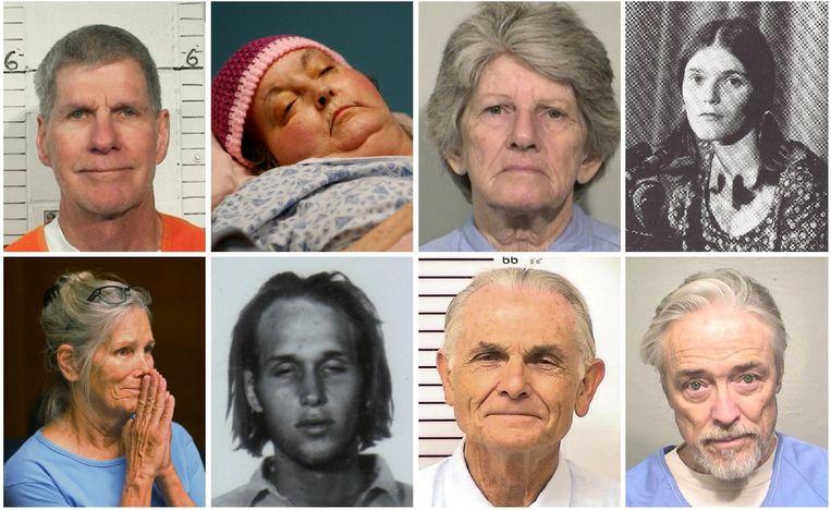 Van links naar rechts en van boven naar onder: Charles Watson, Susan Atkins, Patricia Krenwinkel, Linda Kasabian, Leslie Van Houten, Steve Grogan, Bruce Davis en Robert Beausoleil.