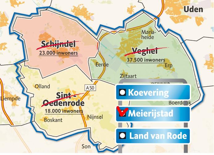 De nieuwe naam van de fusiegemeente Sint-Oedenrode, Veghel en Schijndel is: Meijerijstad