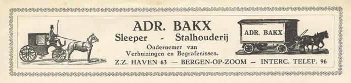 Briefhoofd van Adr. Bakx, januari 1933. Collectie G. van Dijck