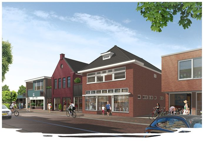 Een artist impression van de  toekomstige situatie aan de Nijverdalsestraat 28 in het centrum van Wierden.
