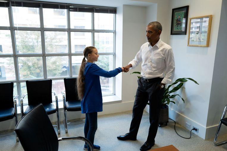Ontmoeting tussen Greta Thunberg en oud-president van de VS Barack Obama in zijn kantoor in Washington DC op 16 september. Beeld Reuters