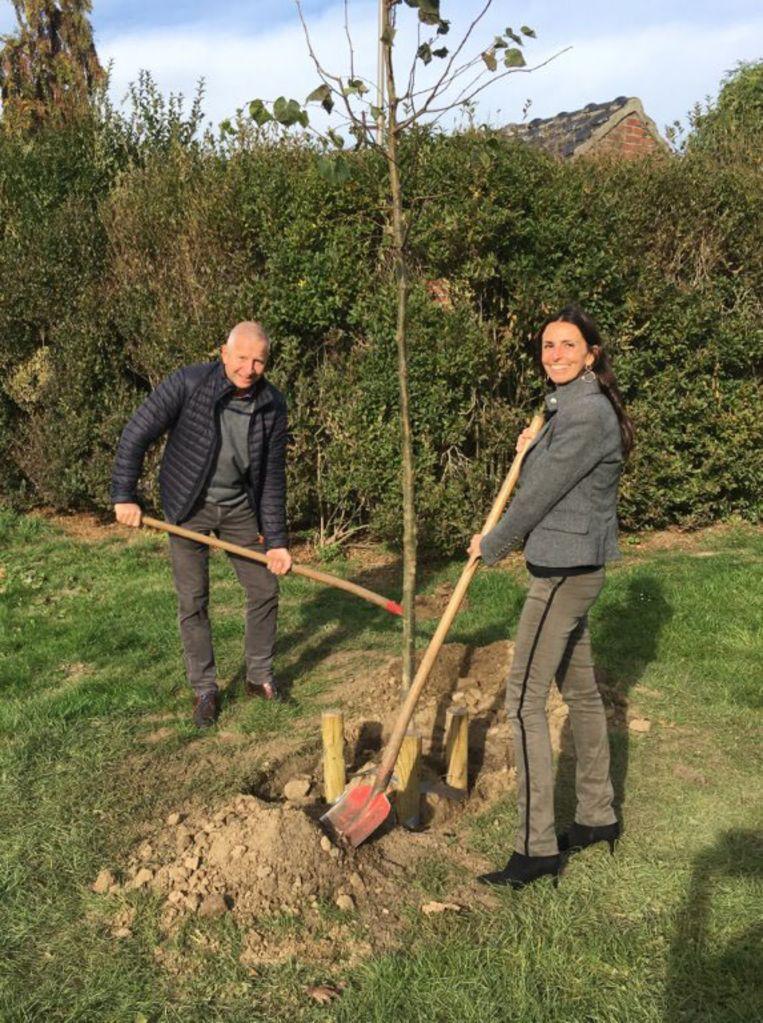 Schepenen Patrick Jans en An Christiaens planten een vredesboom voor de herdenking van het einde van de Eerste Wereldoorlog in Tongeren.