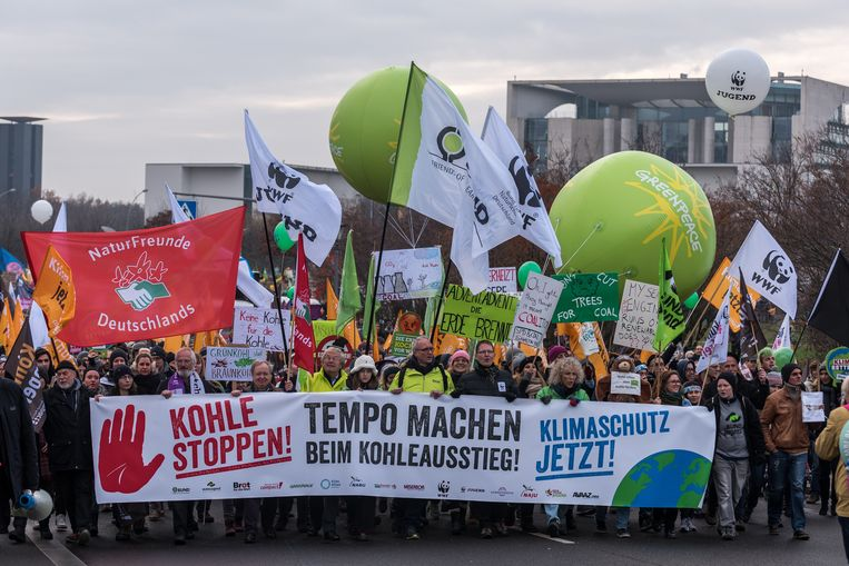 In Duitsland werd naar aanleiding van de klimaatconferentie al geprotesteerd tegen het gebruik van steenkool.