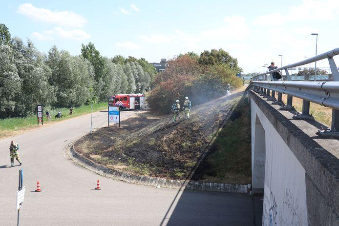 De brandweer rukte met groot materieel uit om de bermbrand te blussen.