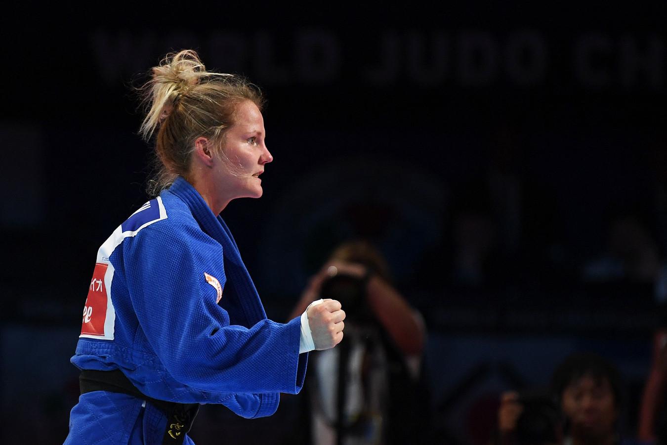 Juul Franssen na het behalen van de bronzen medaille.