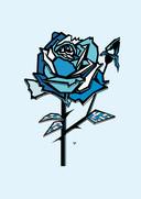 De blauwe roos is één van de tekeningen uit het boek.