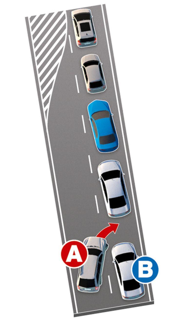 Bestuurder A gaat in de fout door te vroeg naar rechts in te voegen, bestuurder B hoeft hem ook geen voorrang te geven.