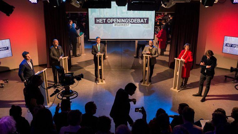 Lijsttrekkers bij het openingsdebat, georganiseerd door AT5 en Het Parool. Beeld Maarten Brante