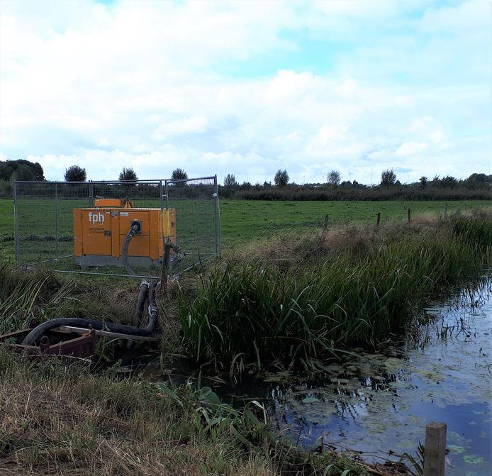 De pomp haalt water uit de Groote Benedenvliet voor de Groote Wielen