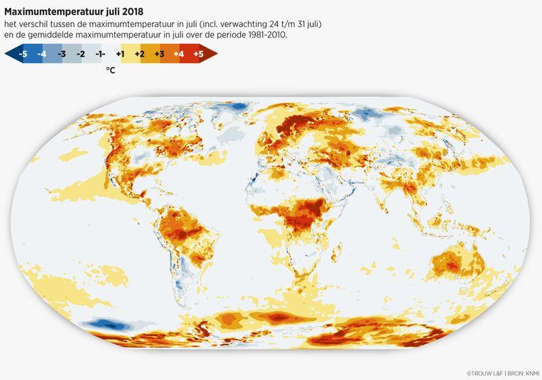 Het verschil tussen de maximumtemperatuur in juli 2018 en de gemiddelde maximumtemperatuur in juli over de periode 1981-2010. Beeld Sander Soewargana