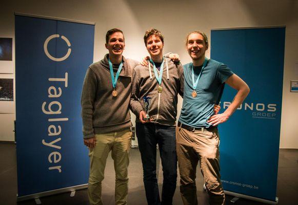 Het winnende team, Johannes, Stijn en Matthias.