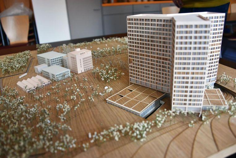 De maquette van het nieuwe ziekenhuis op de site SInt-Jozef. Dit plan krijgt stilaan tegenwind.
