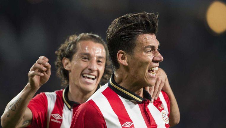Hector Moreno viert zijn doelpunt tegen Manchester United. Beeld anp