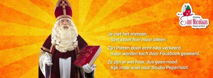 Nieuwe omslagfoto Facebookpagina Stichting Sint Nicolaas Bergen op Zoom nu Facebook de foto met pieten heeft verwijderd.