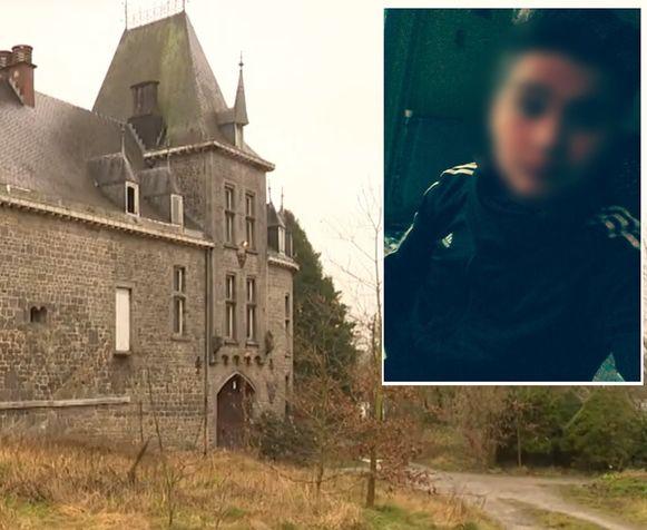 De ingang van de kasteelhoeve. Inzet: slachtoffer Mayron Weibel (21).