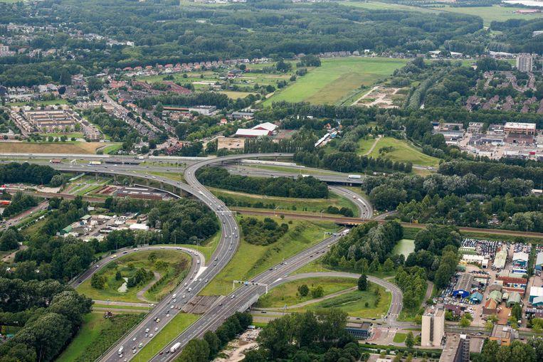 Luchtfoto van het knooppunt het Terbregseplein. Beeld ANP