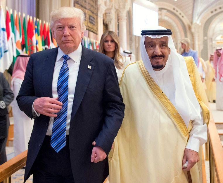 President Trump en de Saudische koning Salman bin Abdulaziz al-Saud. Beeld EPA