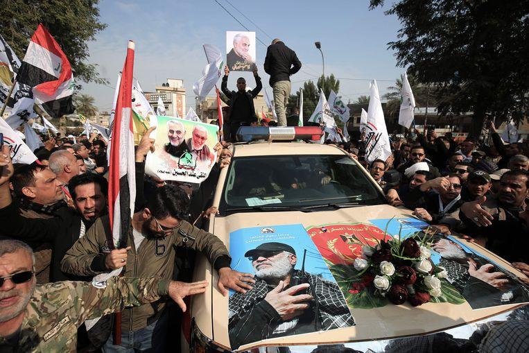 De begrafenisauto van de Iraakse legerchef Abu Mahdi al-Muhandis . Beeld AFP