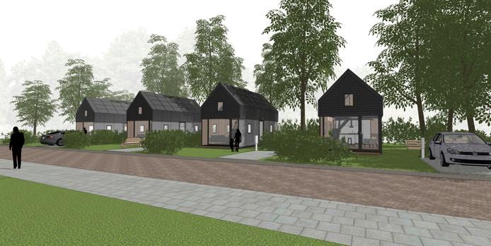 Artist's impression van de tiny houses zoals die aan het Binnenpad in Huijbergen komen te staan
