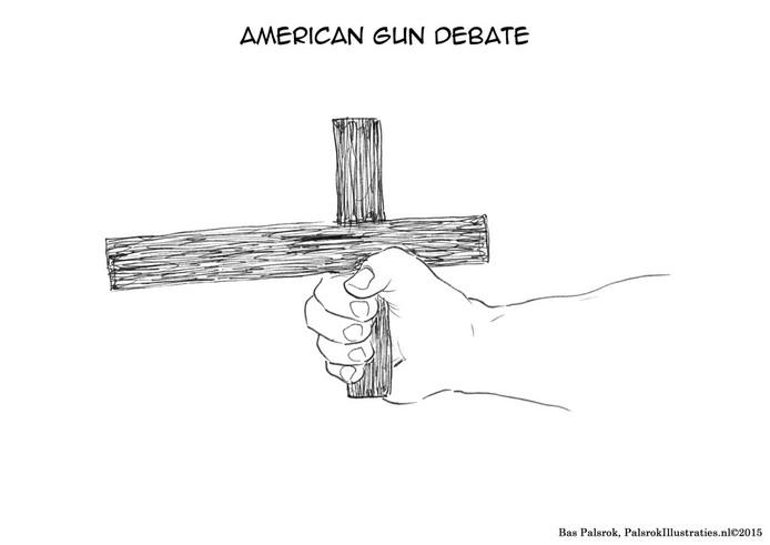 De spotprent 'American gun debate' waarmee Veghelaar Bas Palsrok in het boek Inktspot staat.