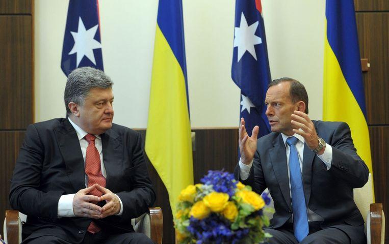 De Australische president Tony Abbott (rechts) en de Oekraïense president Petro Porosjenko.