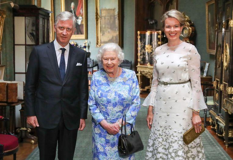 Koning Filip en koningin Mathilde met de Britse Queen.