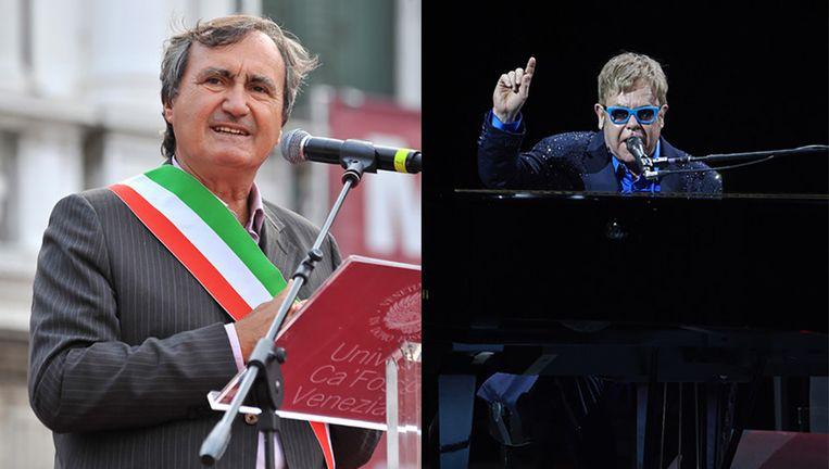De burgemeester van Venetië en de popzanger Elton John.