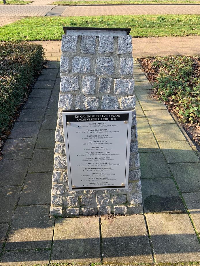 Het herdenkingsmonument in Vroomshoop werd tot drie keer toe vernield. Daarom is er nu een plaquette die hufterproof is.
