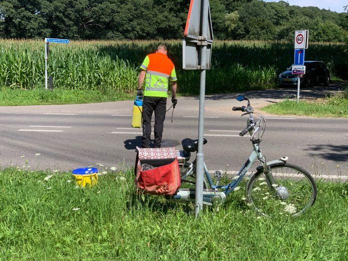 De fiets van de vrouw na het ongeluk in Hummelo