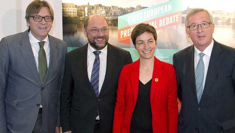 Guy Verhofstadt, Martin Schulz, Ska Keller en Jean-Claude Juncker gingen vanavond in debat in Maastricht. Beeld anp