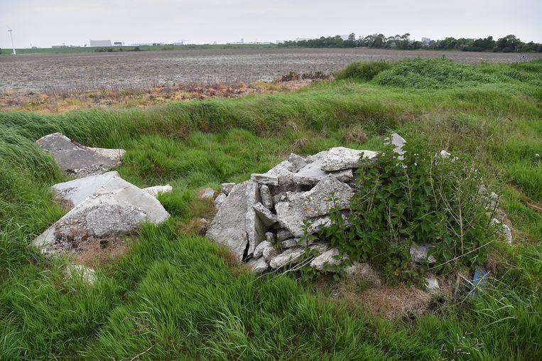 Restanten van een gesloopte boerderij in het gebied Buitenhaven, waar de nieuwe Marinierskazerne moet komen. Beeld Marcel van den Bergh