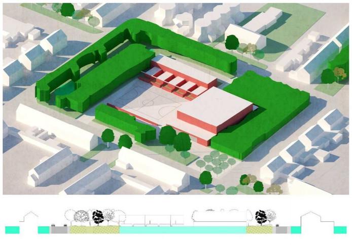In deze variant blijft er een groene zoom, maar komt de hal rechts en een aantal patiowoningen er vlak bij.