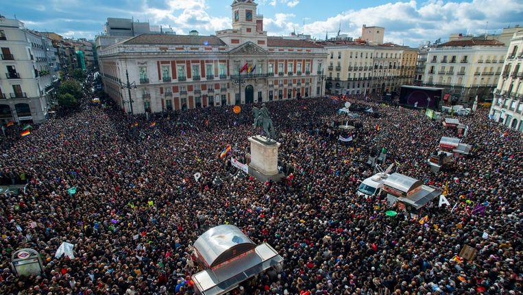 Demonstranten in Madrid. Beeld getty