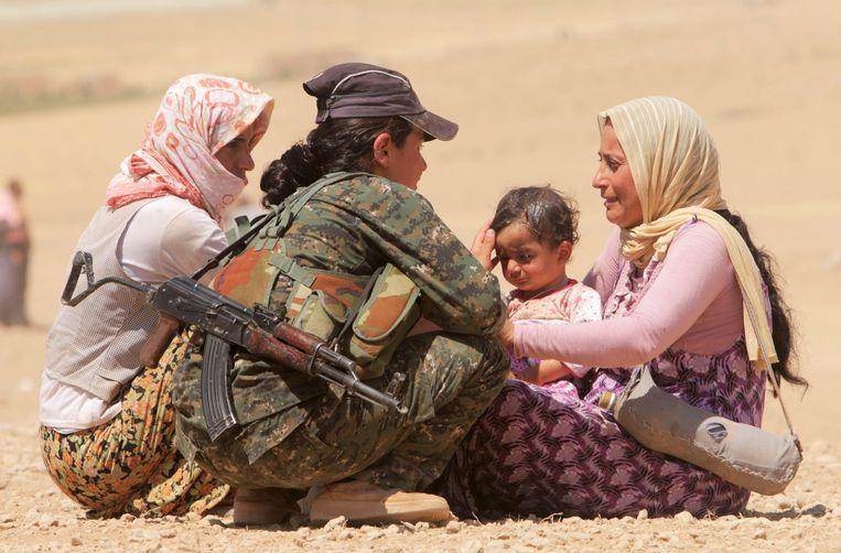 Gevluchte Yazidi's in de buurt van Al-Hasakah. (archiefbeeld) Beeld null