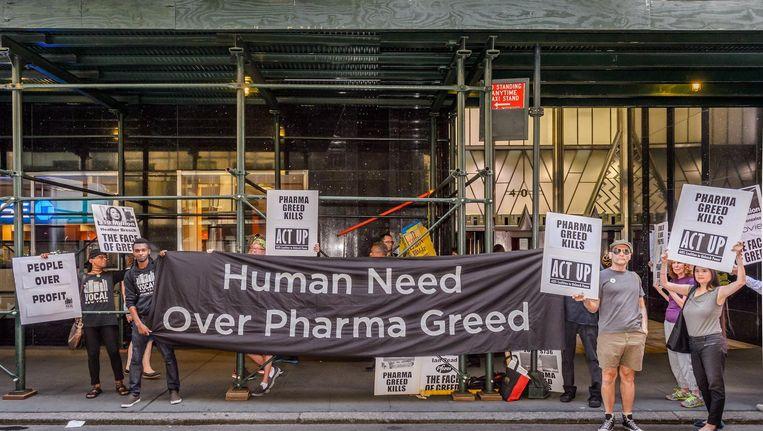 Demonstratie in de VS tegen de 'hebzucht van de farmaceutische industrie'. Beeld