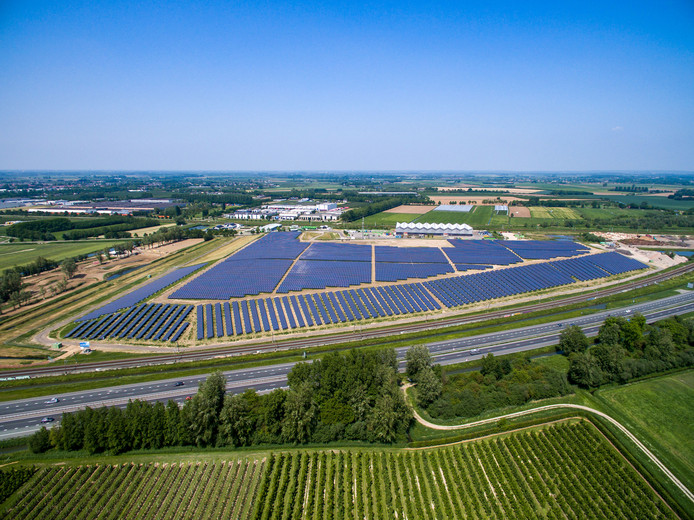 Het zonnepark van Avri Solar bij Geldermalsen. Omdat afvalbedrijf Avri aandeelhouder is, verwacht West Betuwe dat een deel van de winst uiteindelijk toch terugvloeit naar de inwoners.