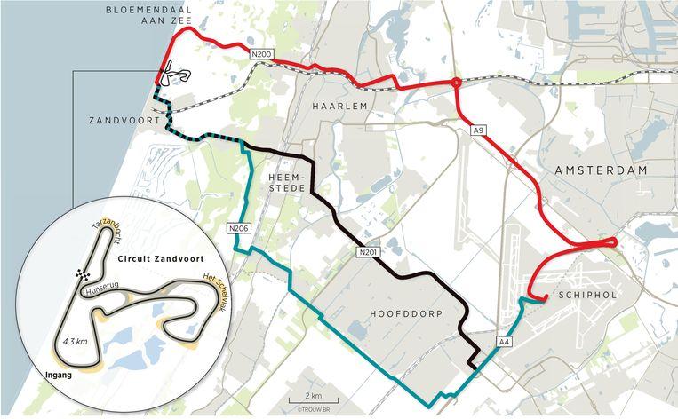De beroemde bochten van het circuit en de beperkte toevoerroutes naar Zandvoort. Beeld Brechtje Rood